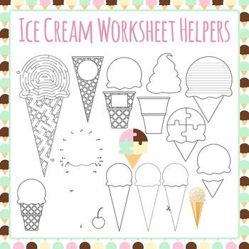 Ice Cream Worksheet Helper Clip Art Pack for Commercial Use