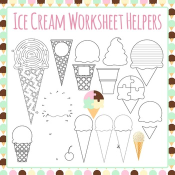 Ice Cream Worksheet Helper Clip Art Pack for Commercial Use by ...