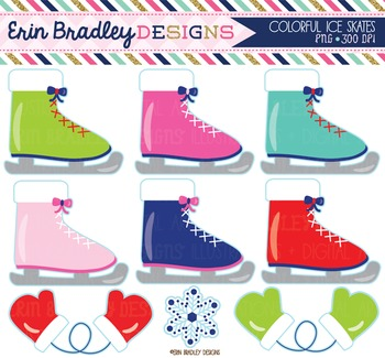 Clipart - Ice Skates Mittens and Snowflake