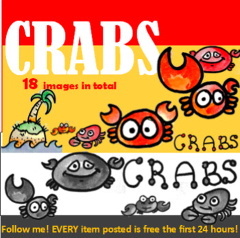 Clipart, Images, Illustrations, Crabs, Island, Beach, Crabby, hand-drawn, color