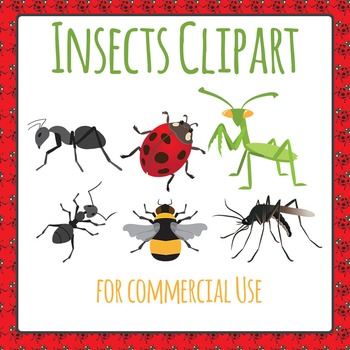 Insects Ants, Lady Bug, Bumble Bee, Praying Mantis and Mosquito Clip Art Pack