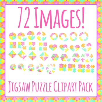 Jigsaw Puzzle Shapes / Fractions / Pieces / Sections Clip Art Pack