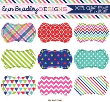 Clipart - Journal Tags Red Green Pink & Blue