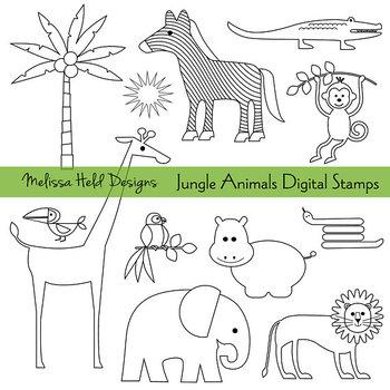 Clipart: Jungle Animals Black Outline Clip Art