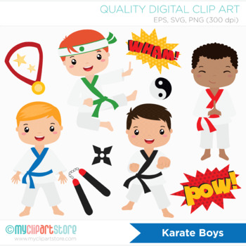 Clipart - Karate Boys (Tae Kwon Do) / Sport / Character