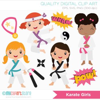 Clipart - Karate Girls (Tae Kwon Do) / Sport