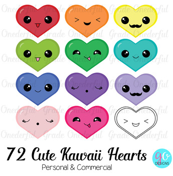 Clipart: Kawaii Hearts in Rainbow Colors, Hearts with Faces