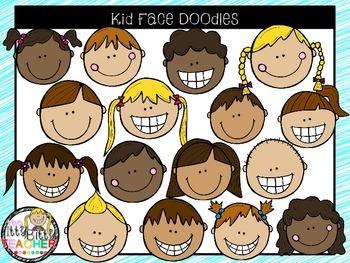 Clipart- Kid Face Doodles