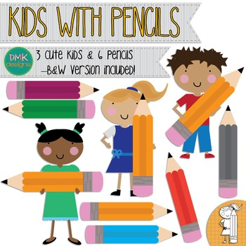 Clipart- Kids with Pencils
