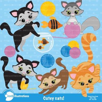 Cat Clipart, Kitten Clip Art, commercial use, vectors, digital images, AMB-285
