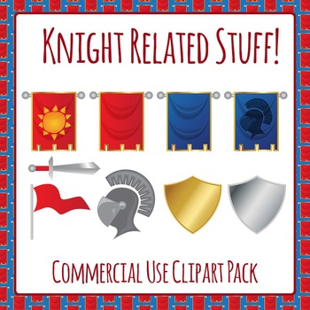 Knight Banners, Helmet, Flag, Sword Clip Art Pack