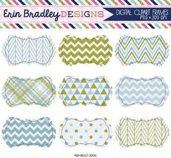 Clipart Labels - Olive and Blue