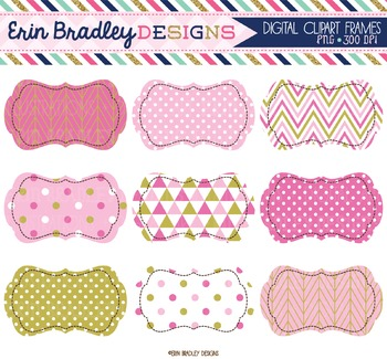 Clipart Labels - Pink and Gold