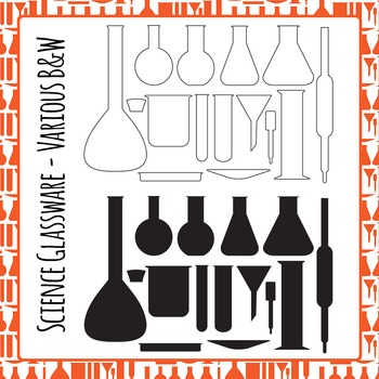 Science Laboratory Glassware Black and White Line Art Set for Commercial Use