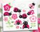 Clipart - Ladybug Garden (pink)