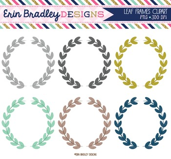 Clipart - Leaf Circle Frames Digital Tags Graphics Aqua Blue Gold Gray