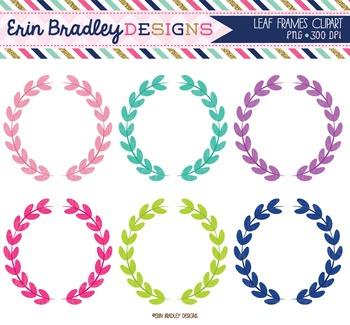 Clipart - Leaf Circle Frames Digital Tags Graphics Pink Purple Aqua Blue Green