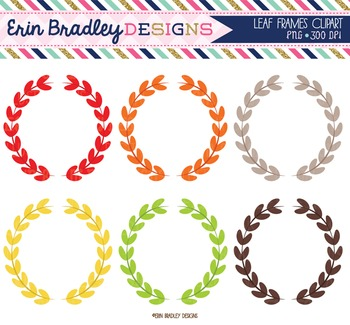 Clipart - Leaf Circle Frames Digital Tags Graphics Red Orange Brown Green Yellow
