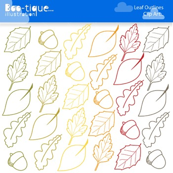 Clipart: Leaf Outlines Clipart. Leaf Line Art. Fall, Leaves, Outlines, Autumn