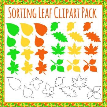 Leaf Shape Clip Art Set for Sorting - Commercial Use Clip