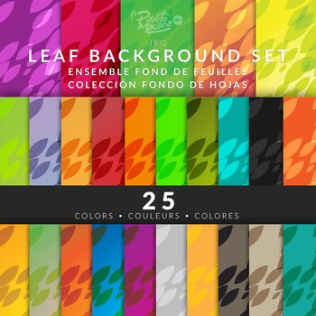 Clipart Leafs Background 25 Colors Hi-Res jpg files - Fond - Fondos