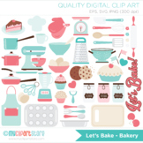 Kitchen Utensils Clipart - Let's Bake (pink and blue), SVG