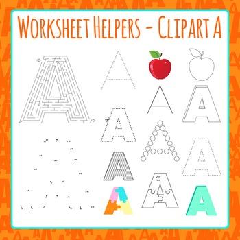 Letter A Worksheet Helper Clip Art Set For Commercial Use