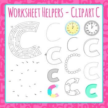 Letter C Worksheet Helper Clip Art Set For Commercial Use