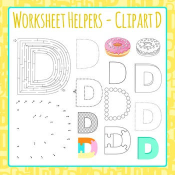Letter D Worksheet Helper Clip Art Set For Commercial Use
