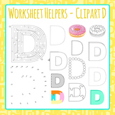 Letter D Worksheet Helper Clip Art Set For Commercial Use