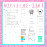 Letter E Worksheet Helper Clip Art Set For Commercial Use