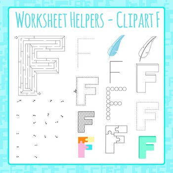 Letter F Worksheet Helper Clip Art Set For Commercial Use