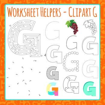 Letter G Worksheet Helper Clip Art Set For Commercial Use