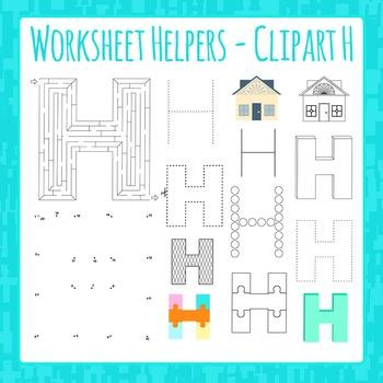 Letter H Worksheet Helper Clip Art Set For Commercial Use