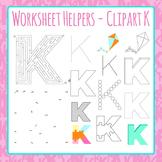 Letter K Worksheet Helper Clip Art Set For Commercial Use