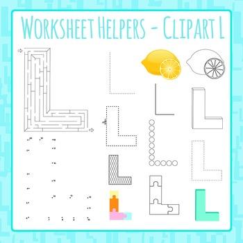 Letter L Worksheet Helper Clip Art Set For Commercial Use