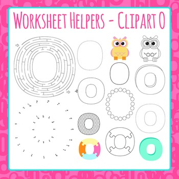 Letter O Worksheet Helper Clip Art Set For Commercial Use