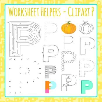 Letter P Worksheet Helper Clip Art Set For Commercial Use