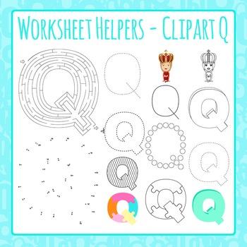 Letter Q Worksheet Helper Clip Art Set For Commercial Use