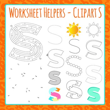 Letter S Worksheet Helper Clip Art Set For Commercial Use