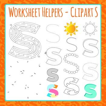 Letter S Worksheet Helper Clip Art Set For Commercial Use