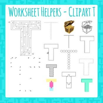 Letter T Worksheet Helper Clip Art Set For Commercial Use