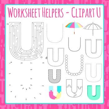 Letter U Worksheet Helper Clip Art Set For Commercial Use