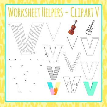 Letter V Worksheet Helper Clip Art Set For Commercial Use