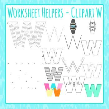 Letter W Worksheet Helper Clip Art Set For Commercial Use