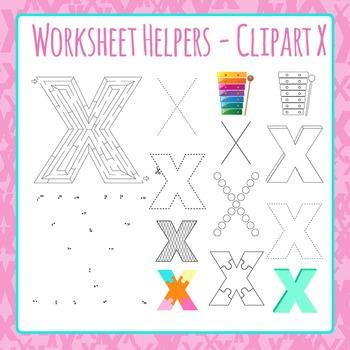 Letter X Worksheet Helper Clip Art Set For Commercial Use