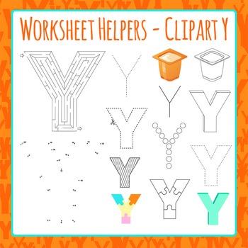 Letter Y Worksheet Helper Clip Art Set For Commercial Use