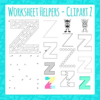 Letter Z Worksheet Helper Clip Art Set For Commercial Use