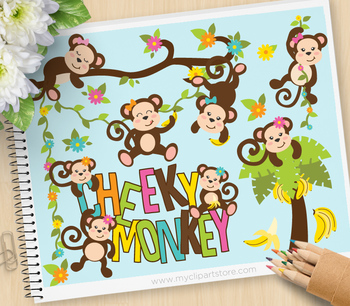 Clipart - Cheeky Monkey (Girl)