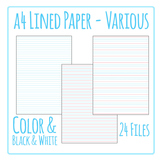 Lined Writing Paper / Pages - Writing Templates Clip Art P
